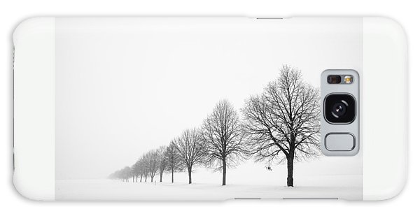 Avenue With Row Of Trees In Winter Galaxy Case by Matthias Hauser