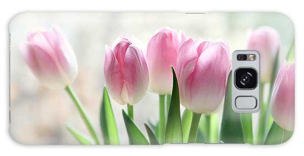 Awakening- Pale Pink Tulips Galaxy Case