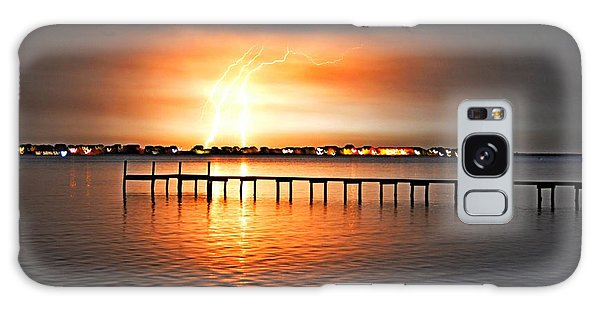 Awesome Lightning Electrical Storm On Sound Galaxy Case by Jeff at JSJ Photography