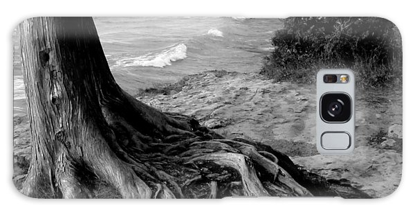 B And W Cedar Roots At Cave Point Galaxy Case