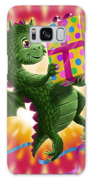Baby Birthday Dragon With Present Galaxy Case by Martin Davey