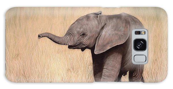 Elephant Calf Painting Galaxy Case by Rachel Stribbling