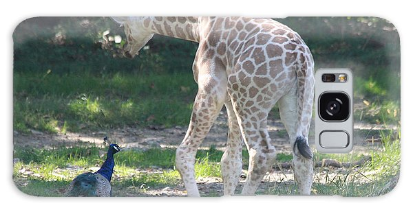 Baby Giraffe And Peacock Out For A Walk Galaxy Case