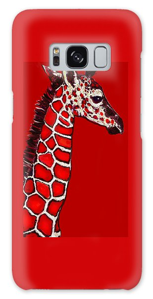 Baby Giraffe In Red Black And White Galaxy Case by Jane Schnetlage