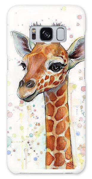 Print Galaxy Case - Baby Giraffe Watercolor  by Olga Shvartsur