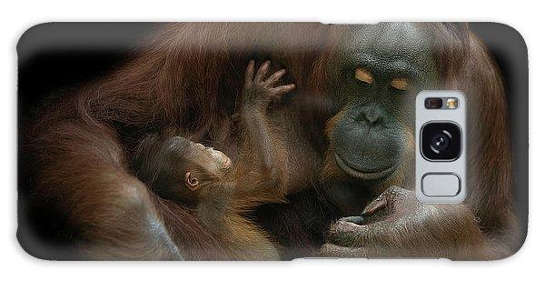 Furry Galaxy S8 Case - Baby Orangutan & Mother by David Williams