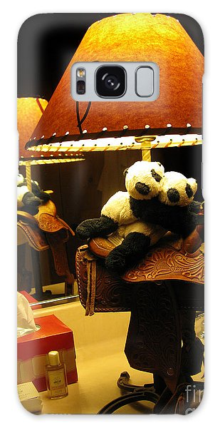 Baby Pandas In A Saddle  Galaxy Case by Ausra Huntington nee Paulauskaite