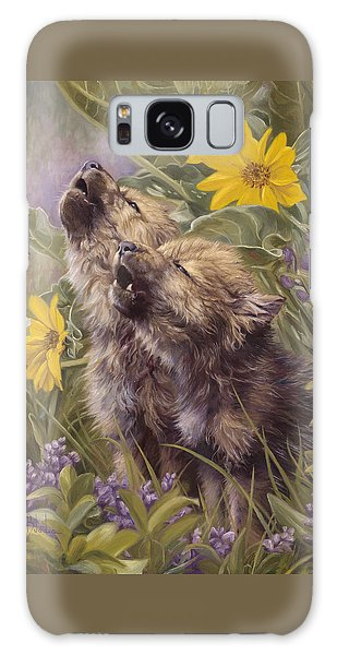 Baby Wolves Howling Galaxy Case by Lucie Bilodeau