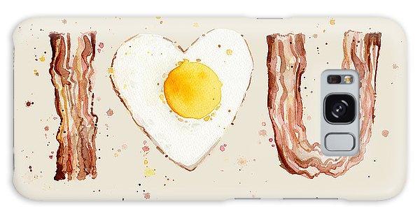 Food Galaxy Case - Bacon And Egg I Heart You Watercolor by Olga Shvartsur