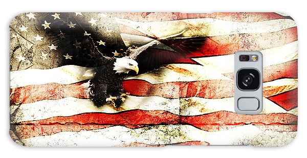 Bald Eagle Bursting Thru Flag Galaxy Case