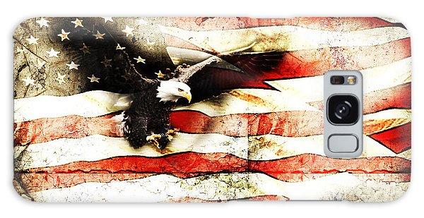 Bald Eagle Bursting Thru Flag Galaxy Case by Eleanor Abramson