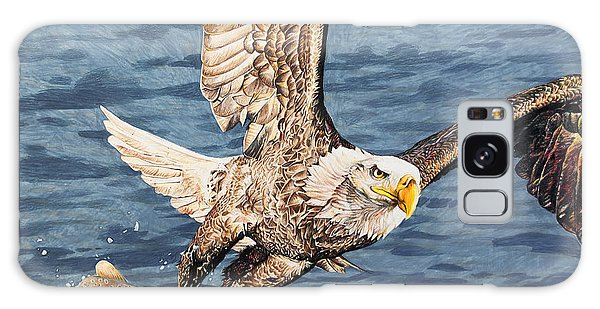 Galaxy Case featuring the drawing Bald Eagle Fishing  by Aaron Spong