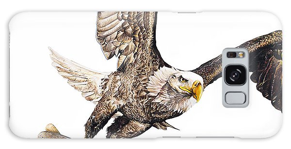 Hyper-realistic Galaxy Case - Bald Eagle Fishing White Background by Aaron Spong