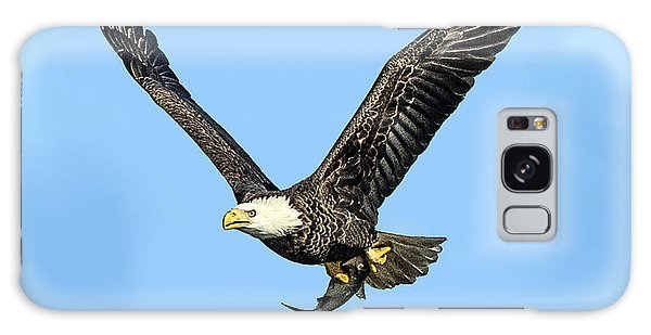 Bald Eagle Flying Holding Freshly Caught Fish Galaxy Case
