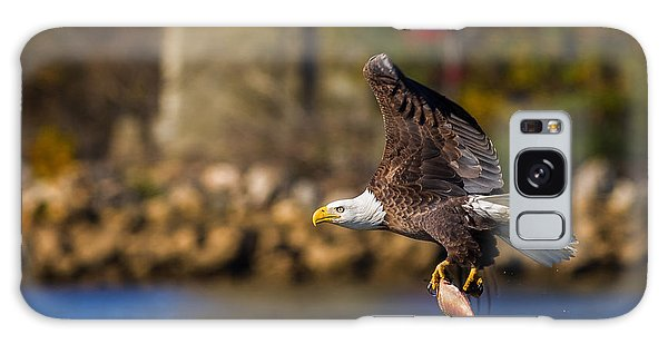 Bald Eagle In Flight Over Water Carrying A Fish Galaxy Case