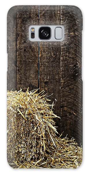 Bale Of Straw And Wooden Background Galaxy Case