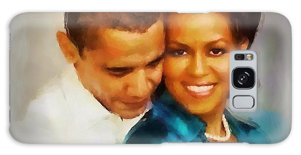 Barack And Michelle Galaxy Case by Wayne Pascall