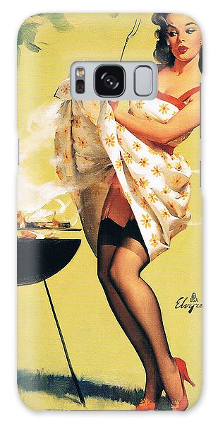Barbecue Time - Retro Pinup Girl Galaxy Case by Tilen Hrovatic