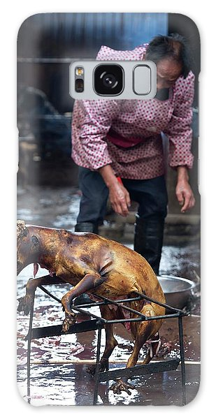 Carcass Galaxy Case - Barbecued Dog Carcass In A Chinese Market by Tony Camacho