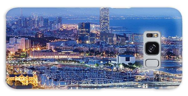 Barcelona Cityscape By Night Galaxy Case