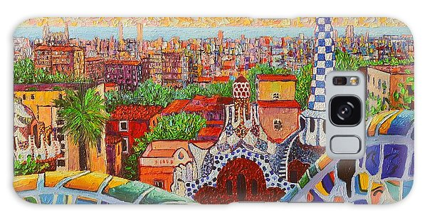 Barcelona Sunrise Light - View From Park Guell Of Gaudi - Square Format Galaxy Case
