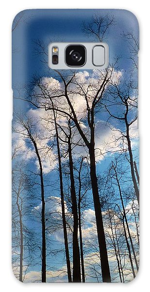 Bare Trees Fluffy Clouds Galaxy Case by Jeanette Oberholtzer