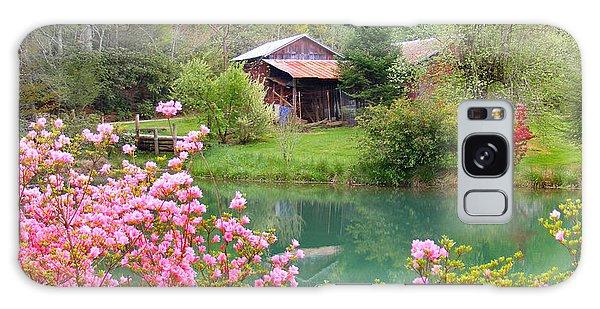 Barn And Flowers Near Pond Galaxy Case