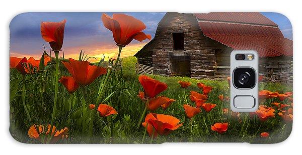 Barn In Poppies Galaxy Case