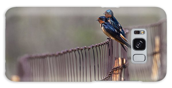 Barn Swallows On The Fence Galaxy Case by Mark Alder