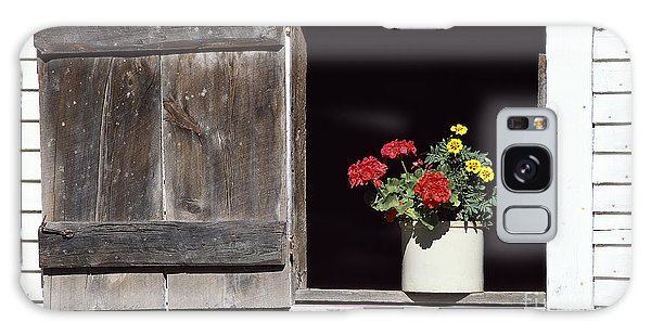 Barn Window Flowers Galaxy Case by Alan L Graham