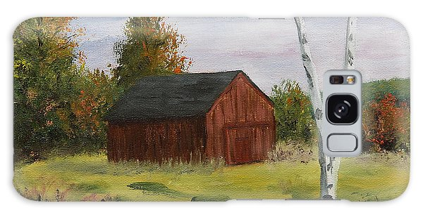 Barn With Lone Birch Galaxy Case