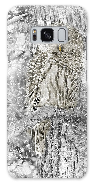 Marie Galaxy Case - Barred Owl Snowy Day In The Forest by Jennie Marie Schell