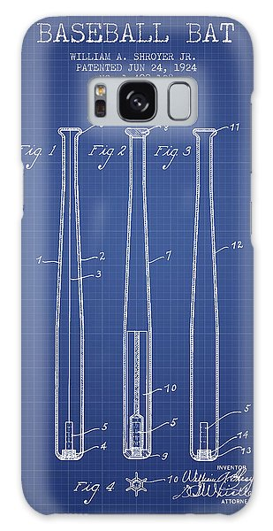 Baseball Bats Galaxy S8 Case - Baseball Bat Patent From 1924 - Blueprint by Aged Pixel