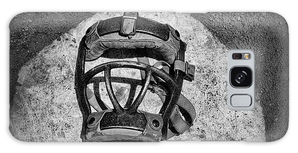 Baseball Catchers Mask Vintage In Black And White Galaxy Case by Paul Ward