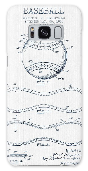 Baseball Bats Galaxy S8 Case - Baseball Patent Drawing From 1928 - Blue Ink by Aged Pixel
