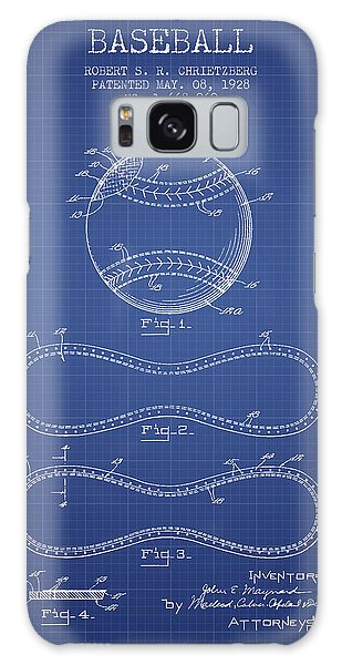 Baseball Bats Galaxy S8 Case - Baseball Patent From 1928 - Blueprint by Aged Pixel
