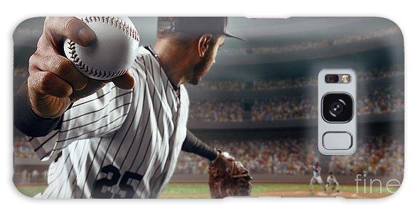 Baseball Galaxy Case - Baseball Player Throws The Ball On by Alex Kravtsov