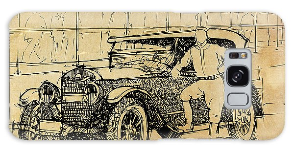 Old Truck Galaxy Case - Baseball Star On A New Ford by Drawspots Illustrations