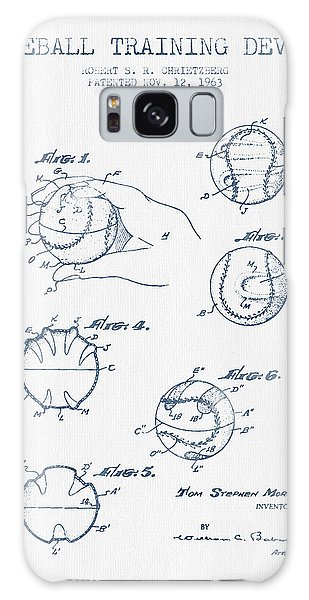 Baseball Training Device Patent Drawing From 1963 - Blue Ink Galaxy Case