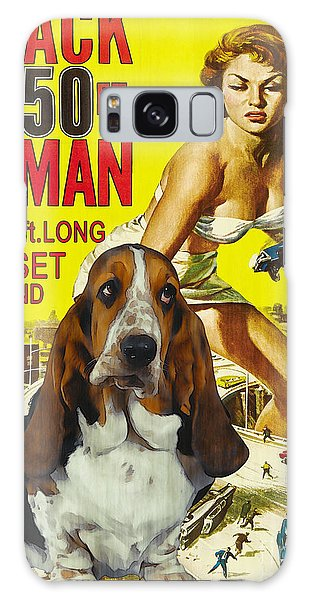 Basset Hound Art Canvas Print - Attack Of The 50ft Woman Movie Poster Galaxy Case