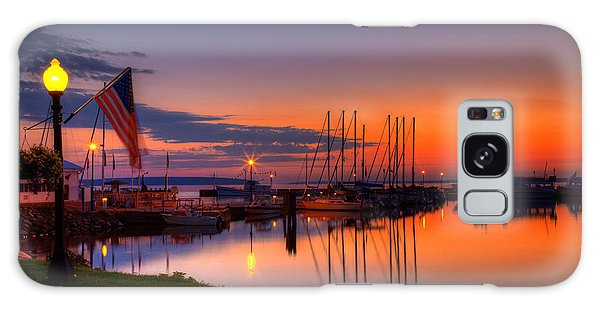 Bayfield Wisconsin Fire In The Sky Over The Harbor Galaxy Case