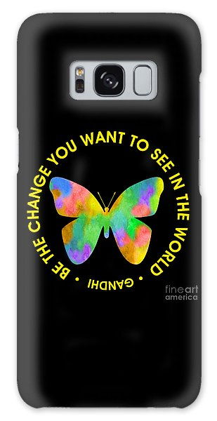Be The Change - Butterfly In Circle Galaxy Case