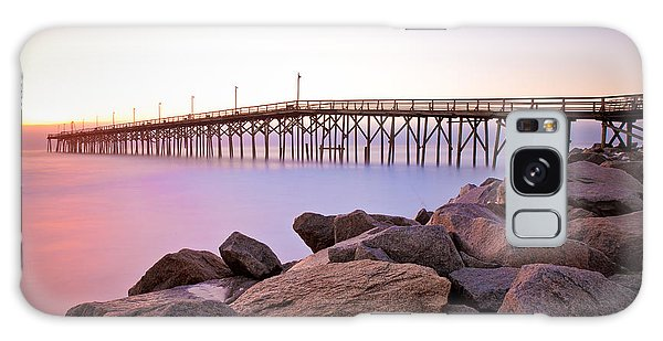 Beach Fishing Pier And Rocks At Sunrise Galaxy Case