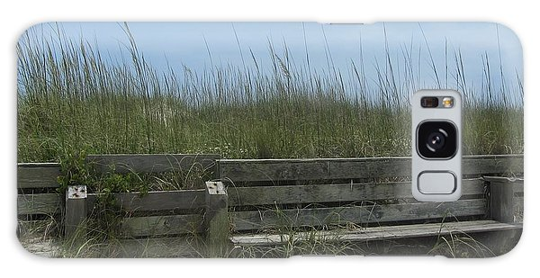 Beach Grass And Bench  Galaxy Case by Cathy Lindsey