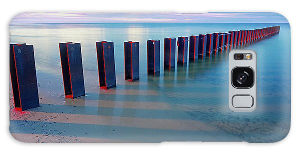 Beach Pylons At Sunset Galaxy Case