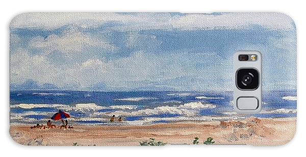 Beach Scene On Galveston Island Galaxy Case