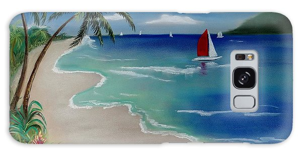 Beach With Sailboat Galaxy Case
