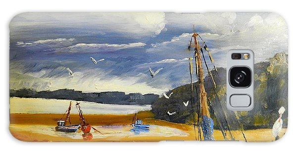 Beached Boat And Fishing Boat At Gippsland Lake Galaxy Case by Pamela  Meredith