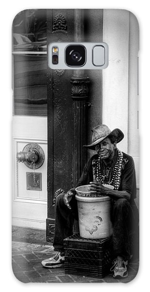 Beads And Bucket In New Orleans In Black And White Galaxy Case
