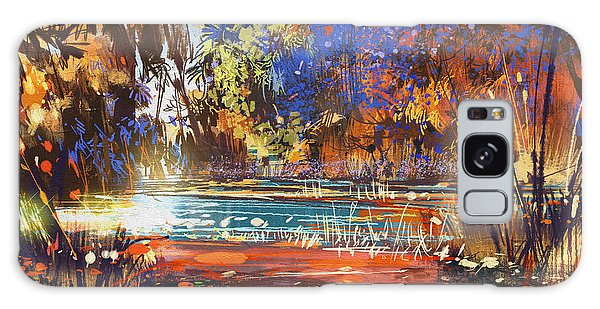Bright Galaxy Case - Beautiful Autumn Landscape With Flowers by Tithi Luadthong
